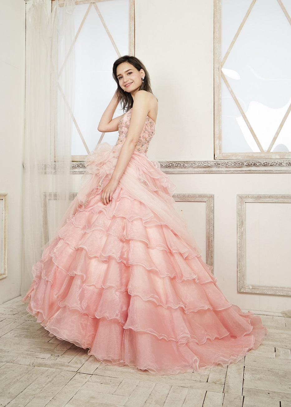 カラードレス 披露宴 1.5次会 2次会 ピンク 大人 かわいい