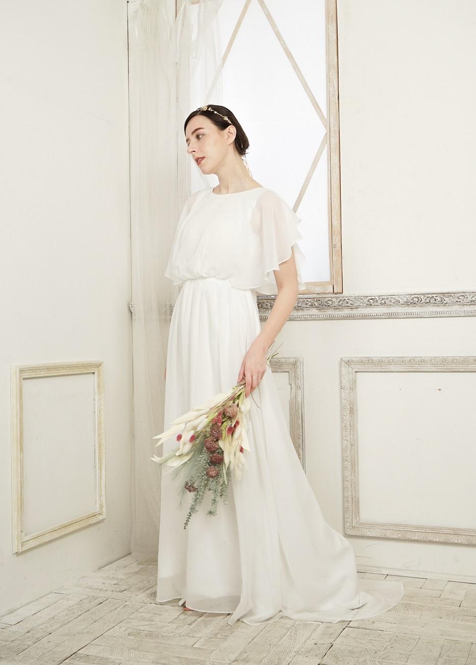 2次会 ウエディングドレス 大人婚 シンプル 動きやすい 袖付き