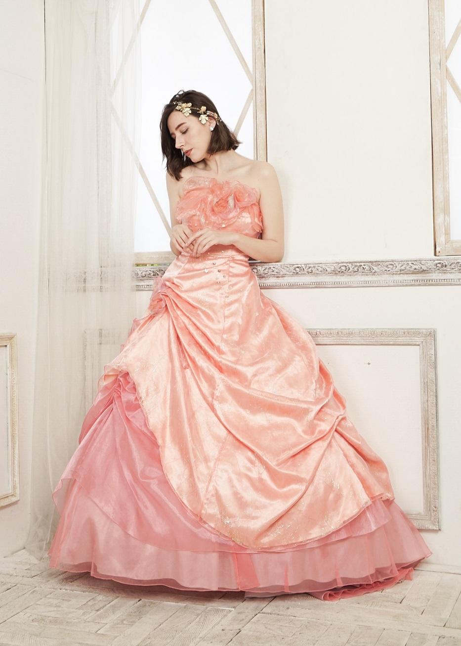 カラードレス 披露宴 1.5次会 2次会 ピンク 大人 かわいい ピンク オレンジ