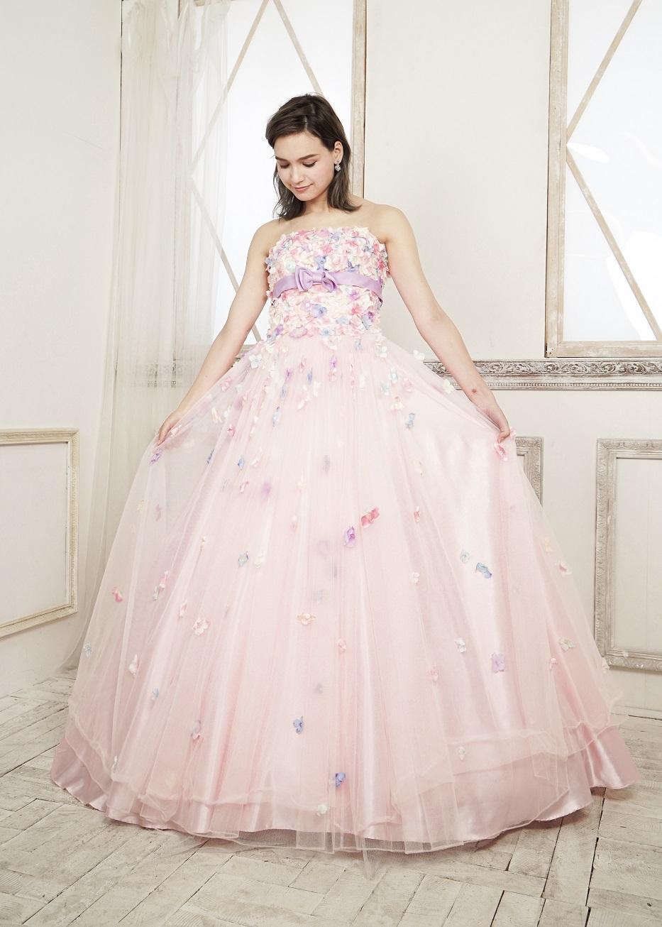 カラードレス 披露宴 1.5次会 2次会 ピンク 大人 かわいい 花