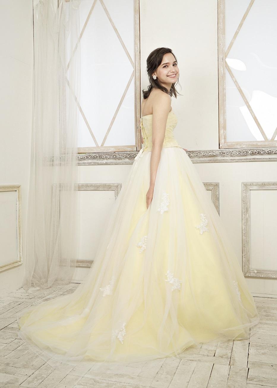 カラードレス 披露宴 1.5次会 2次会  かわいい シンプル カジュアル イエロー 黄色