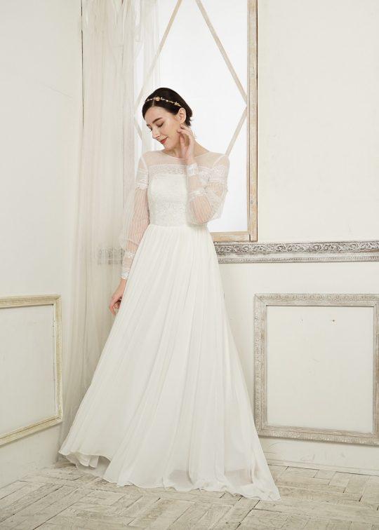 2次会 ウエディングドレス クラシカル 袖付き シンプル