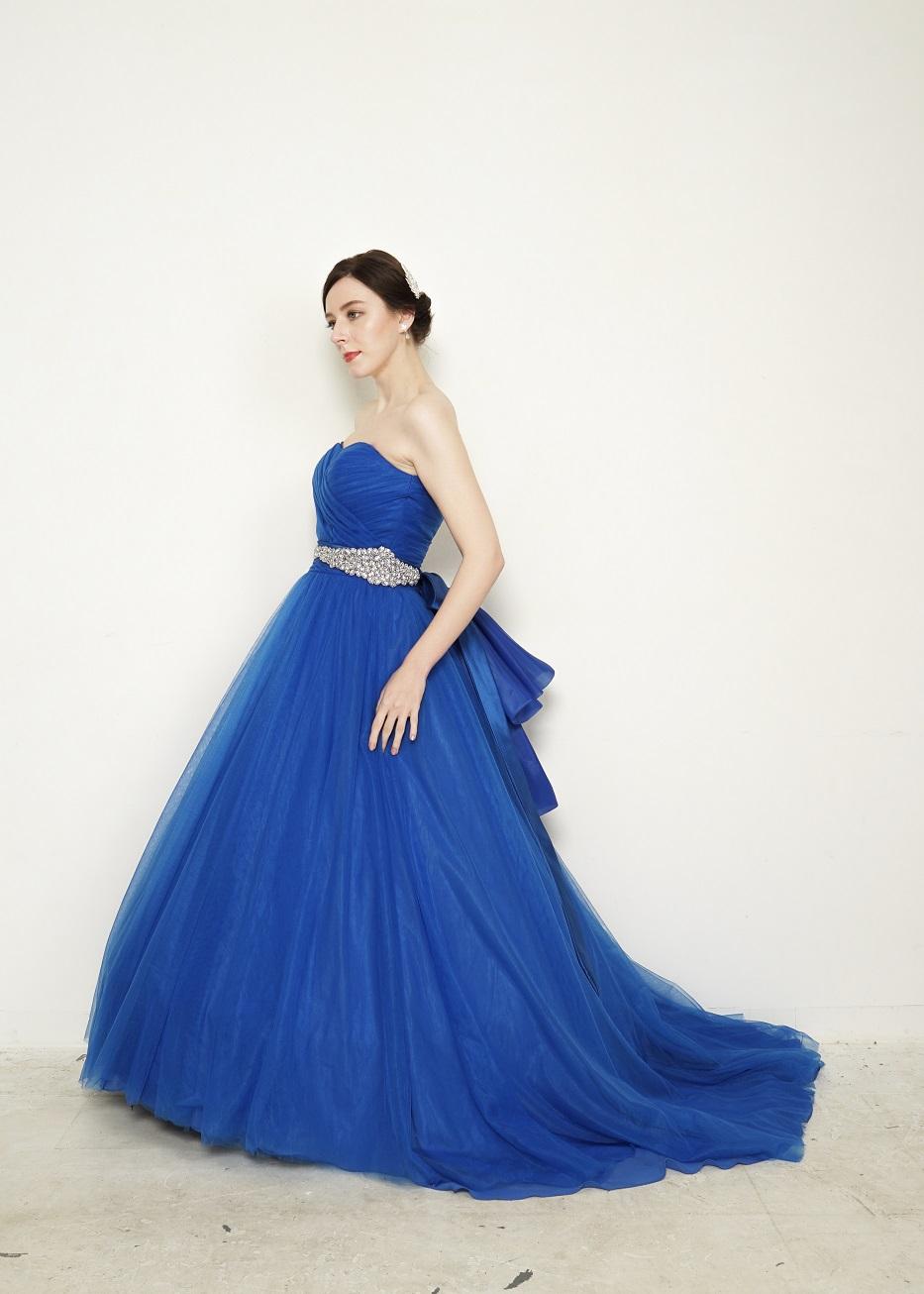 カラードレス 披露宴 1.5次会 2次会 シンプル ブルー チュール