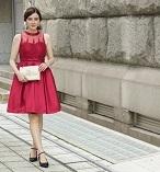 パーティドレス 謝恩会ドレス 肩つき レース 赤 レッド